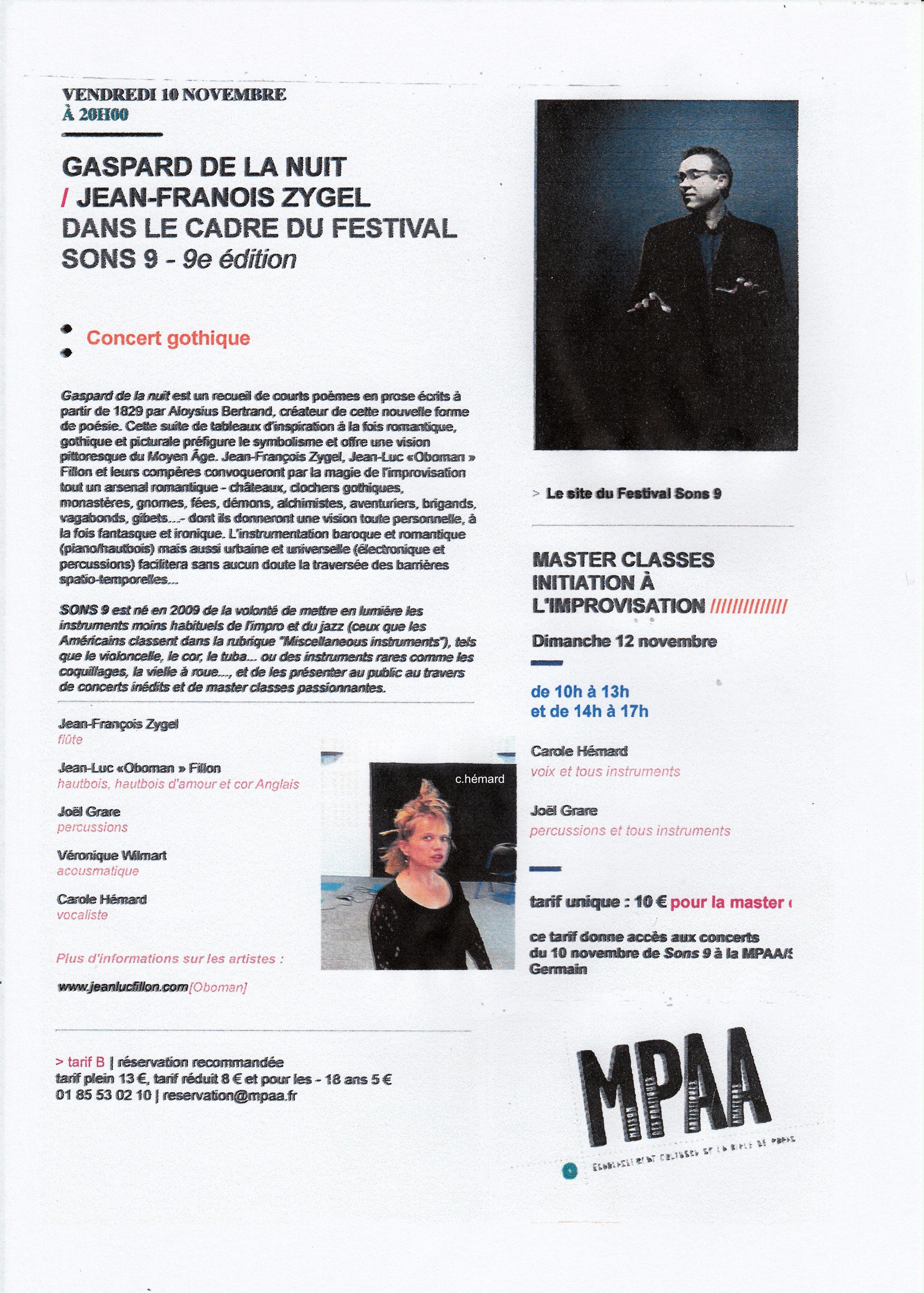 concert et master-class Nov 2017